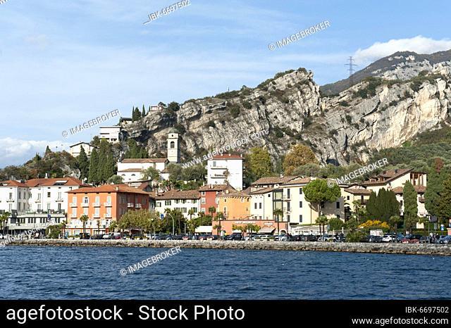 View of Torbole from the lake, Turbel, Lake Garda, Province of Trento, Trentino, Italy, Europe