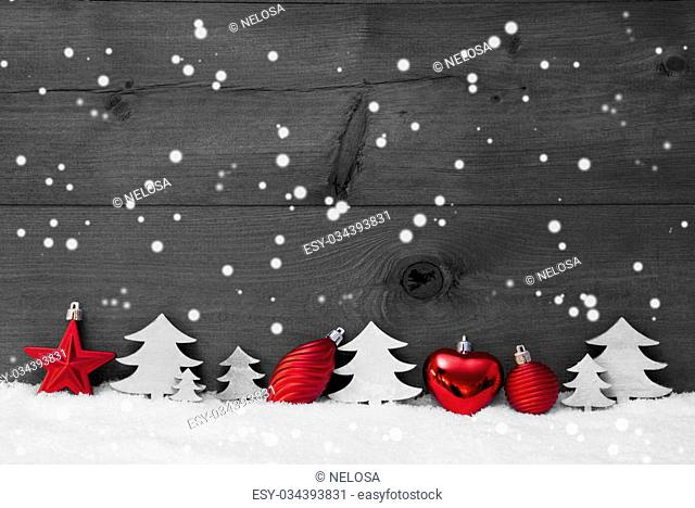 Festive Christmas Decoration On White Snow. Christmas Ball, Christmas Tree, Snowflakes. Rustic, Vintage Wooden Background