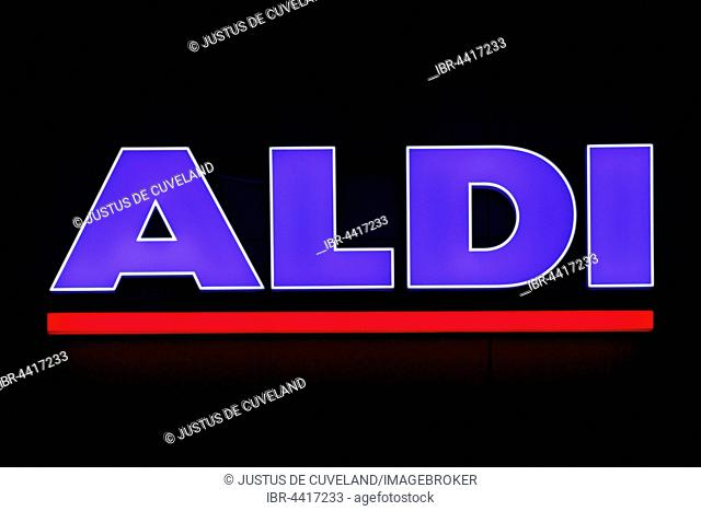 Illuminated sign of the food discounter ALDI Nord, Germany