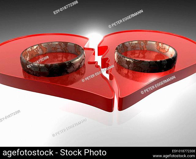 Abstrakt - gebrochenes Herz - 3D