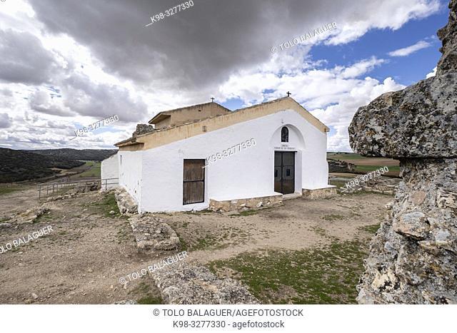 ermita virgen de los Remedios, parque arqueológico de Segóbriga, Saelices, Cuenca, Castilla-La Mancha, Spain