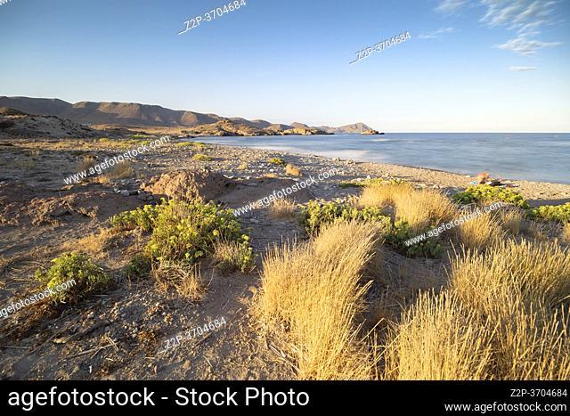 Sunset in Cabo de Gata natural park in Almeria Andalusia Spain El Embarcadero beach