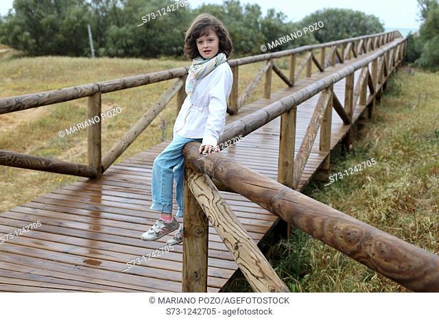 Girl in Barbate beach, Cadiz province, Andalusia, Spain