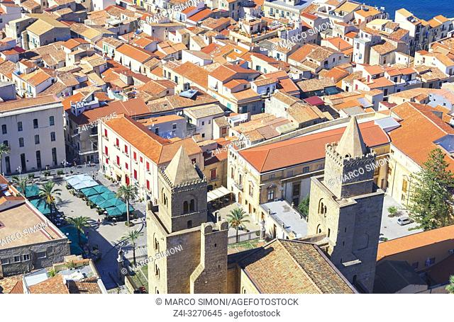 Top view of Cathedral San Salvatore and Piazza Duomo, Cefalu, Sicily, Italy, Europe