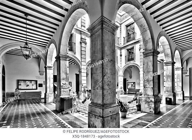 Courtyard, University of Seville former Royal Tobacco Factory, Seville, Spain