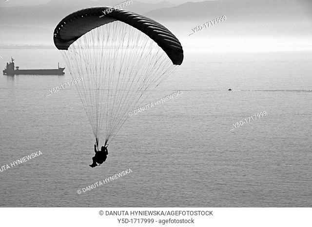 paraglider flying over Mediterranean Sea, Amalfi Coast, Campania region, southern Italy, Italy, Europe, boat, boats