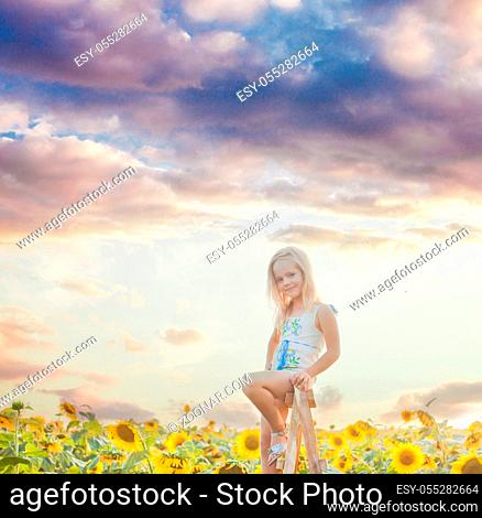 The cute blonde girl sitting on a ladder among a sunflower field against a background of wonderful sky
