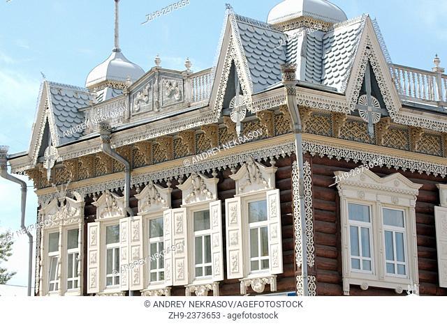 Wooden log house to historic city center of Irkutsk. Siberia, Russian Federation
