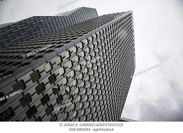 La Defense major business district near Paris, France . Abstract business background with office building skyscrapers