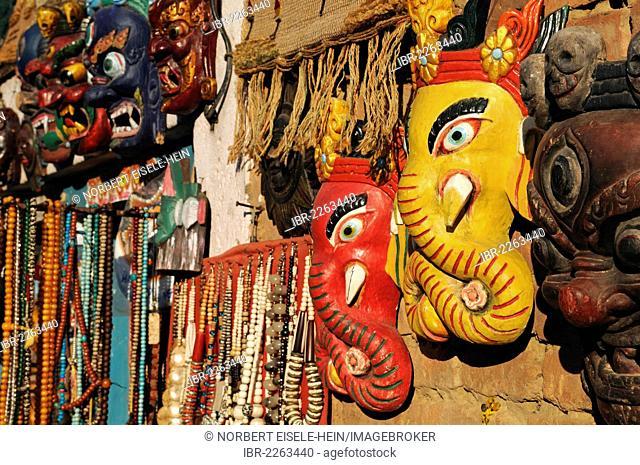 Shops with carved Ganesh statues, Swayambhunath Stupa, Kathmandu, Kathmandu Valley, Nepal, Asia