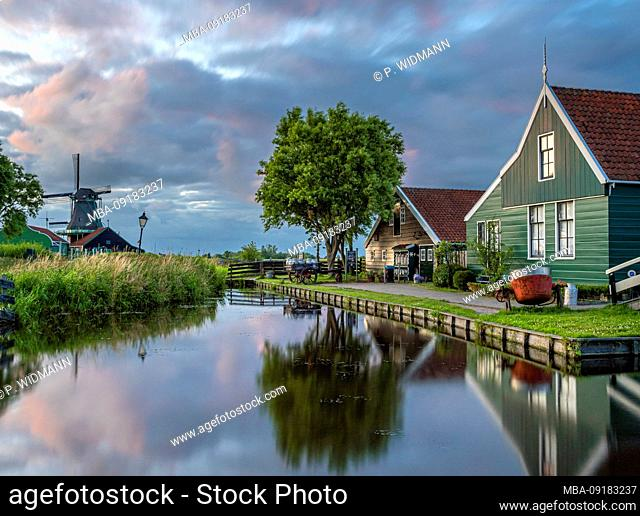 Characteristic wooden houses as in the 17th century in the museum village Zaanse Schans, Zaandam, Netherlands, Europe