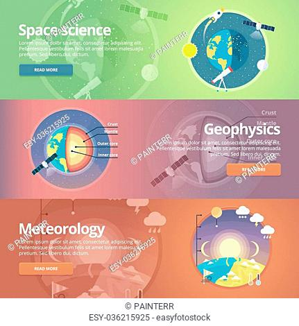 Science of Earth. Exploration of space. Geophysics. Meteorology. Atmospheric phenomena. Natural science. Education and science banners set