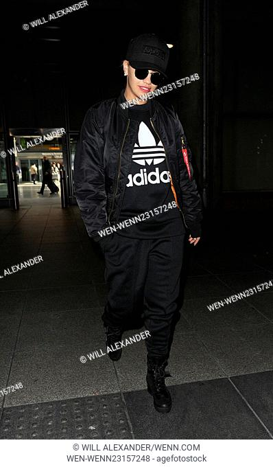 Rita Ora arriving at Heathrow Airport on a flight from berlin. Rita was wearing one of her Adidas designs Featuring: Rita Ora Where: London