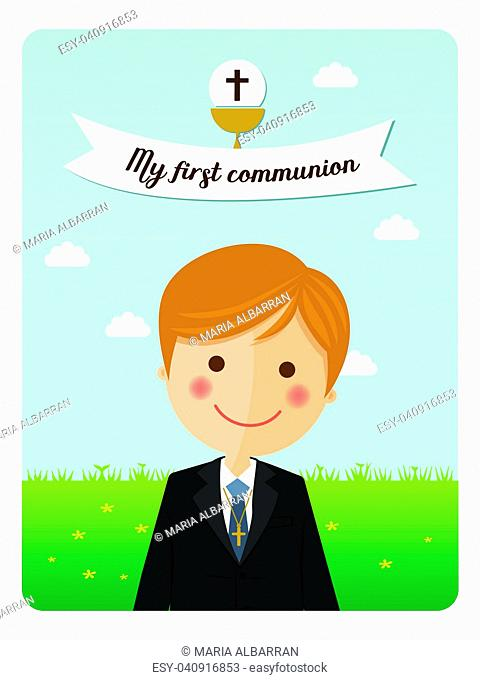 Foreground child costume in her first communion dress vertical invitation with message on blue sky background