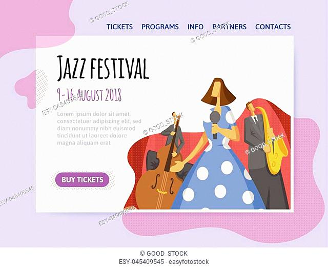 Jazz music festival, trio performs at the concert. Vector illutration, design template of music site header, banner or poster