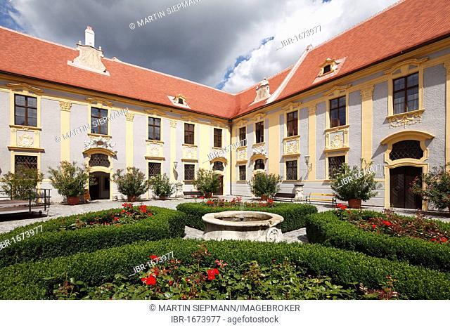 Inner courtyard of Duernstein Abbey, Wachau valley, Waldviertel region, Lower Austria, Austria, Europe