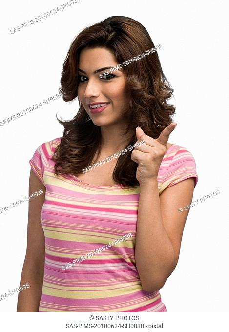 Fashion model gesturing and smiling
