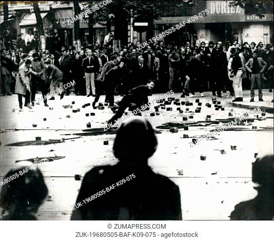 May 05, 1968 - Rioting Student Clash with Police in Paris Tear gas and hoses were used during yesterday's clash with French students and French riot Police...