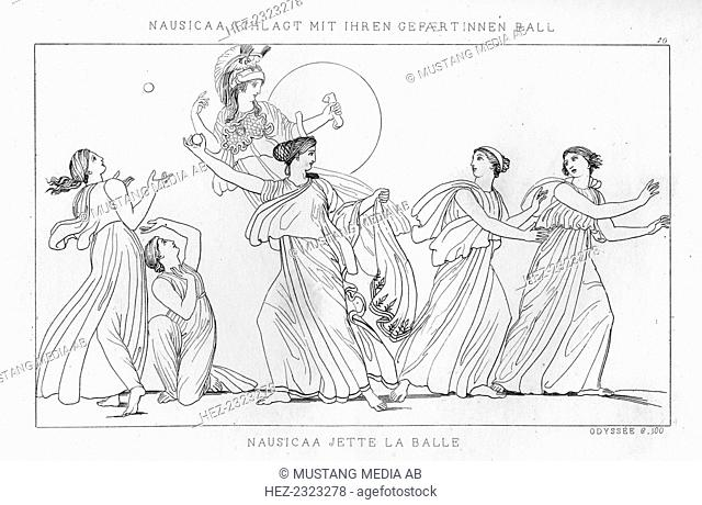 Nausicaa playing a ball game, c1833. A scene from Homer's Odyssey