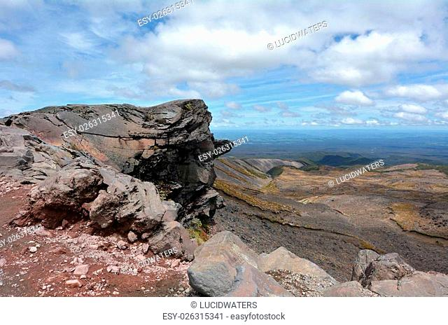 NATIONAL PARK, NZ - DEC 8 2014:Landscape of Tongariro National Park.The Tongariro Alpine Crossing is considered one of New Zealand's top tramping experiences...