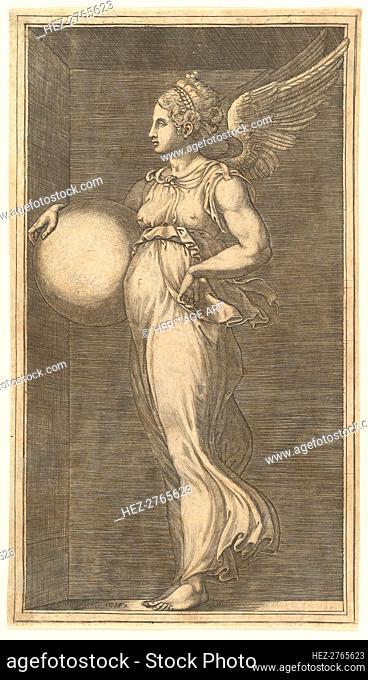 Female Winged Allegorical Figure Holding a Sphere, 1558/1559. Creator: Giorgio Ghisi