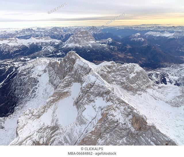 Aerial view of the rocky peaks of Monte Civetta Ampezzo Dolomites Province of Belluno Veneto Italy Europe