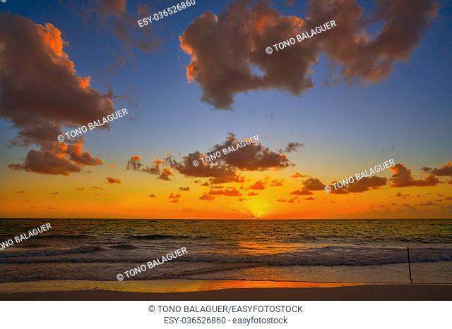 Mahahual Caribbean beach sunrise in Costa Maya of Mayan Mexico