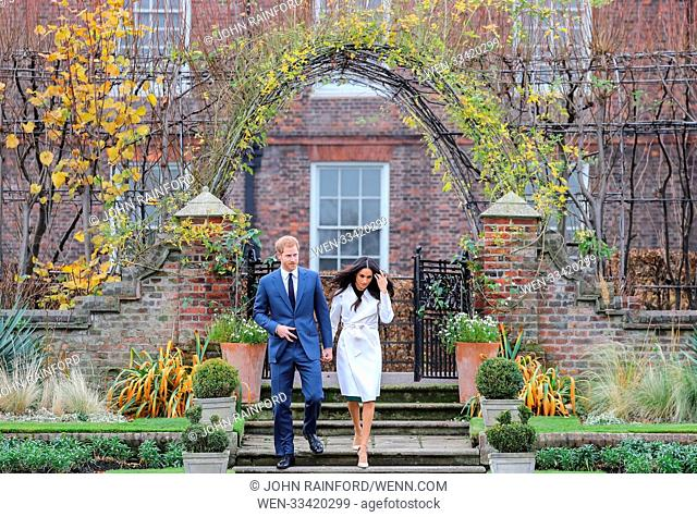 Prince Harry and Meghan Markle officially announce their engagement at Kensington Palace Featuring: Prince Harry, Meghan Markle Where: London