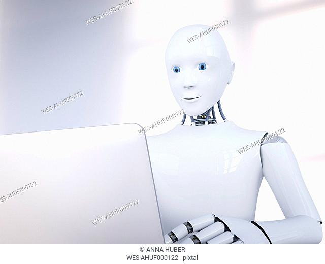 3D Rendering, Robot and laptop