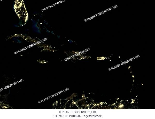 Caribbean Islands at night in 2012. This satellite image shows urban and industrial lights
