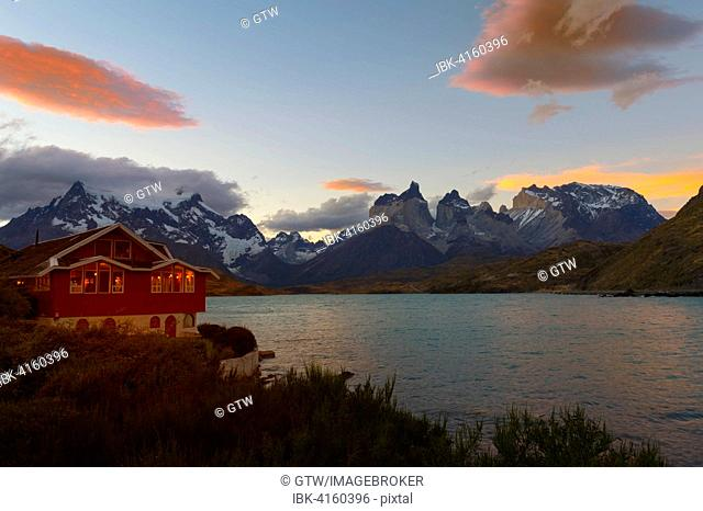 Lago Pehoe and Hosteria Pehoe, Torres del Paine National Park, Chilean Patagonia, Chile