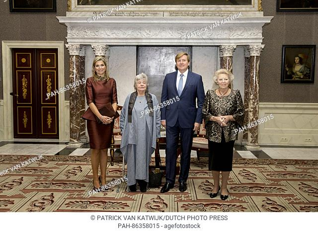 King Willem-Alexander, Queen Maxima and Princess Beatrix of The Netherlands attend the award ceremony of the Erasmus award 2016 in the Royal Palace in Amsterdam