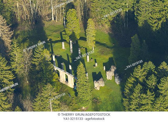 France, Meuse (55), Verdun, WWI battle fields, detroyed village of Ornes, ruins of Saint Michel church (aerial view)