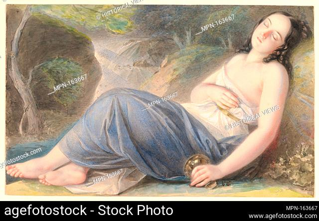 Psyche Asleep in a Landscape. Artist: Karl Joseph Aloys Agricola (Austrian, Bad Säckingen 1779-1852 Vienna); Date: 1837; Medium: Watercolor, white gouache