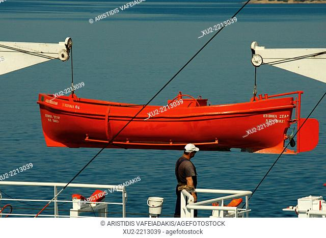 Ship worker at ferry boat in Greece