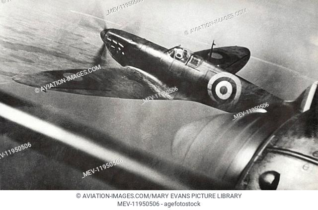 RAF Spitfire Mark1 Seen from a Heinkel He-111 Bomber During the Battle-Of-Britain During a Dog-Fight