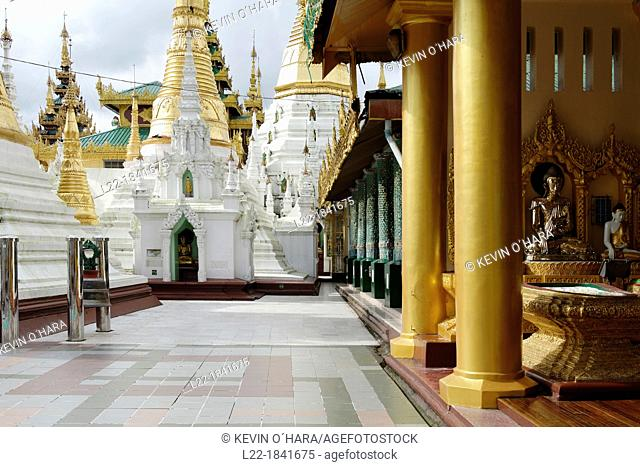 The Shwedagon Pagoda officially titled Shwedagon Zedi Daw also known as the Great Dagon Pagoda and the Golden Pagoda, is a 99 metres  325 ft  gilded pagoda and...