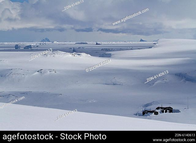 old scientific Antarctic station of snowy expanses of the Antarctic