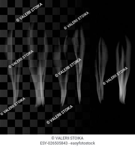 Smoke Set on Checkered Background. Delicate White Cigarette Smoke Waves on Transparent Background