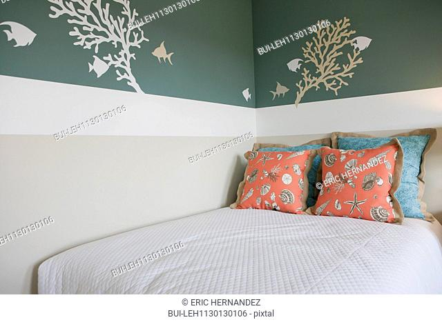 Wall decal in bedroom at home