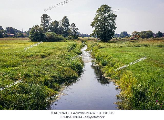 Rudnia river in Soce village on so called The Land of Open Shutters trail, famous for traditional architecture in Podlaskie Voivodeship, Poland