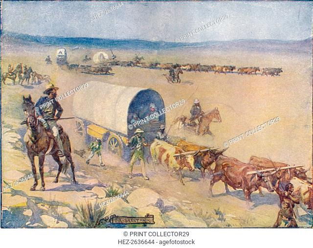 'The Bullock-Waggons Wound Slowly Over The Billowy Plains', c1908, (c1920). Artist: Joseph Ratcliffe Skelton