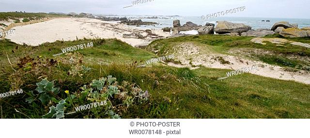 Expansive coastline in Finistere in Brittany in France