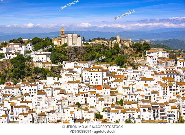 White village of Casares. Costa del Sol, Málaga province. Andalusia, Southern Spain Europe
