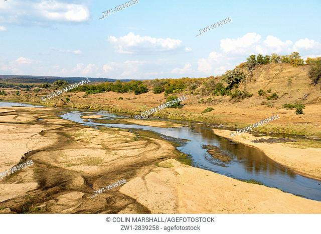 Scenic view of Letaba river running through sandbanks, Kruger National Park, Transvaal, South Africa