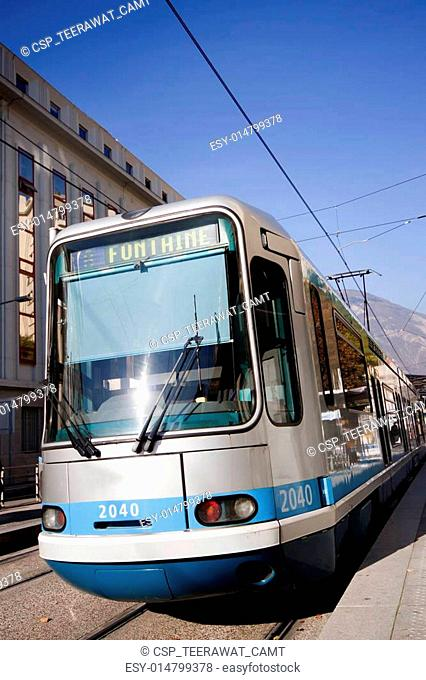 Tram way in the Grenoble City