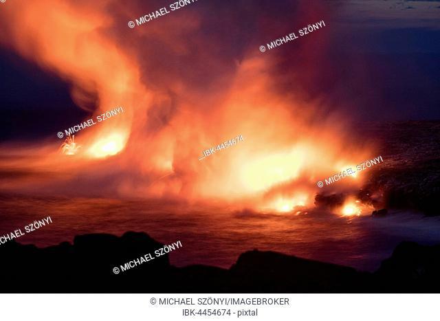 Lava entering ocean, Kilauea Volcano, Hawai'i Volcanoes National Park, Big Island, Hawai'i, USA