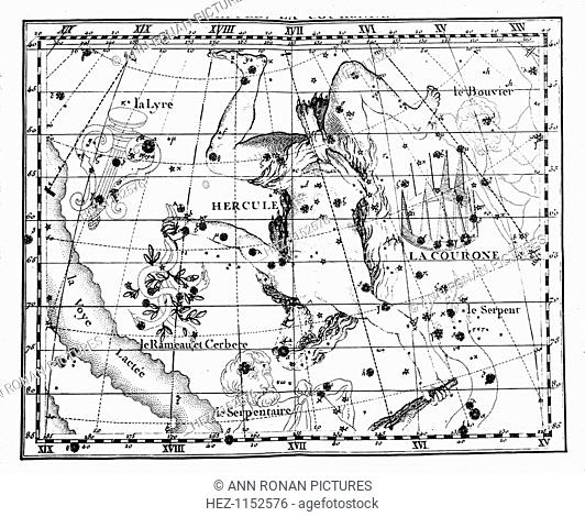 Astronomical map, centred on the constellation of Hercules, 1775. Part of the Milky Way is shown on the right of the image
