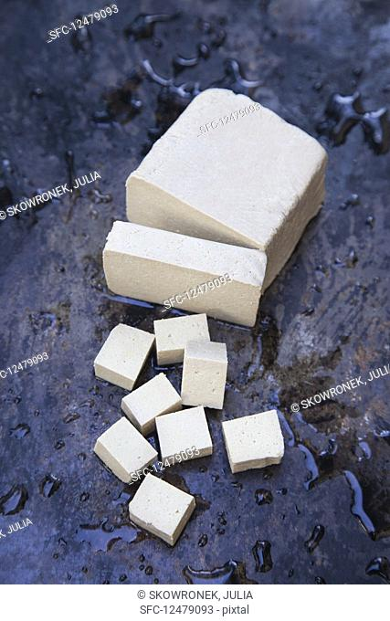 Tofu, sliced and cubed