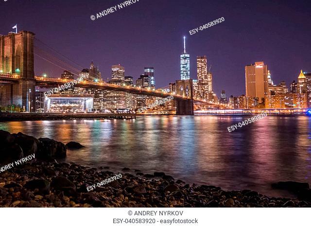 Night New York. City lights at night in New York